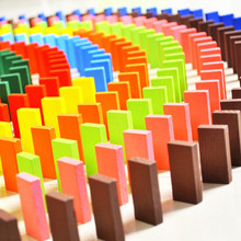 120Pcs/set Rainbow Wooden Baby Domino Blocks Early Childhood Educational Funny Montessori Toy For Children Colorful High Quality(China)