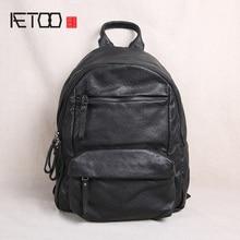 AETOO Leather shoulder bag, men's large-capacity retro sheepskin leisure travel backpack, trend soft leather student bag