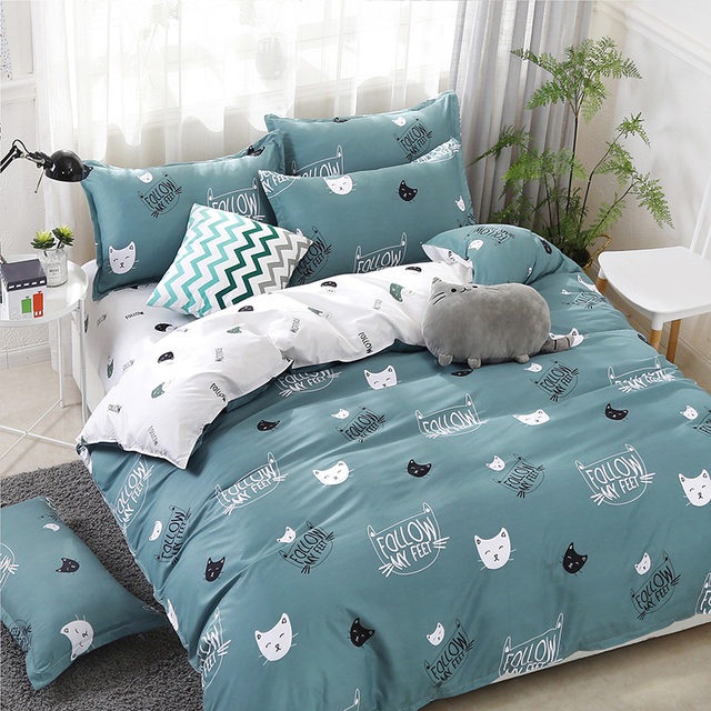 Solstice Bedding Set Black and White Kitty