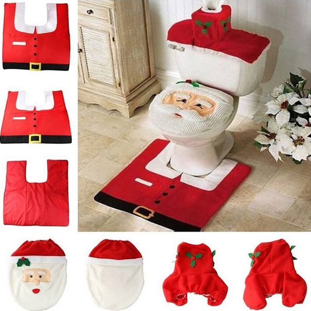 2018 Santa Claus Toilet Seat Cover And Rug Bathroom Set Contour Christmas Decorations For Home