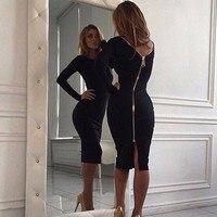 Sexy Zippers Women Tight Dress Fashion Summer Party Dress Vestidos