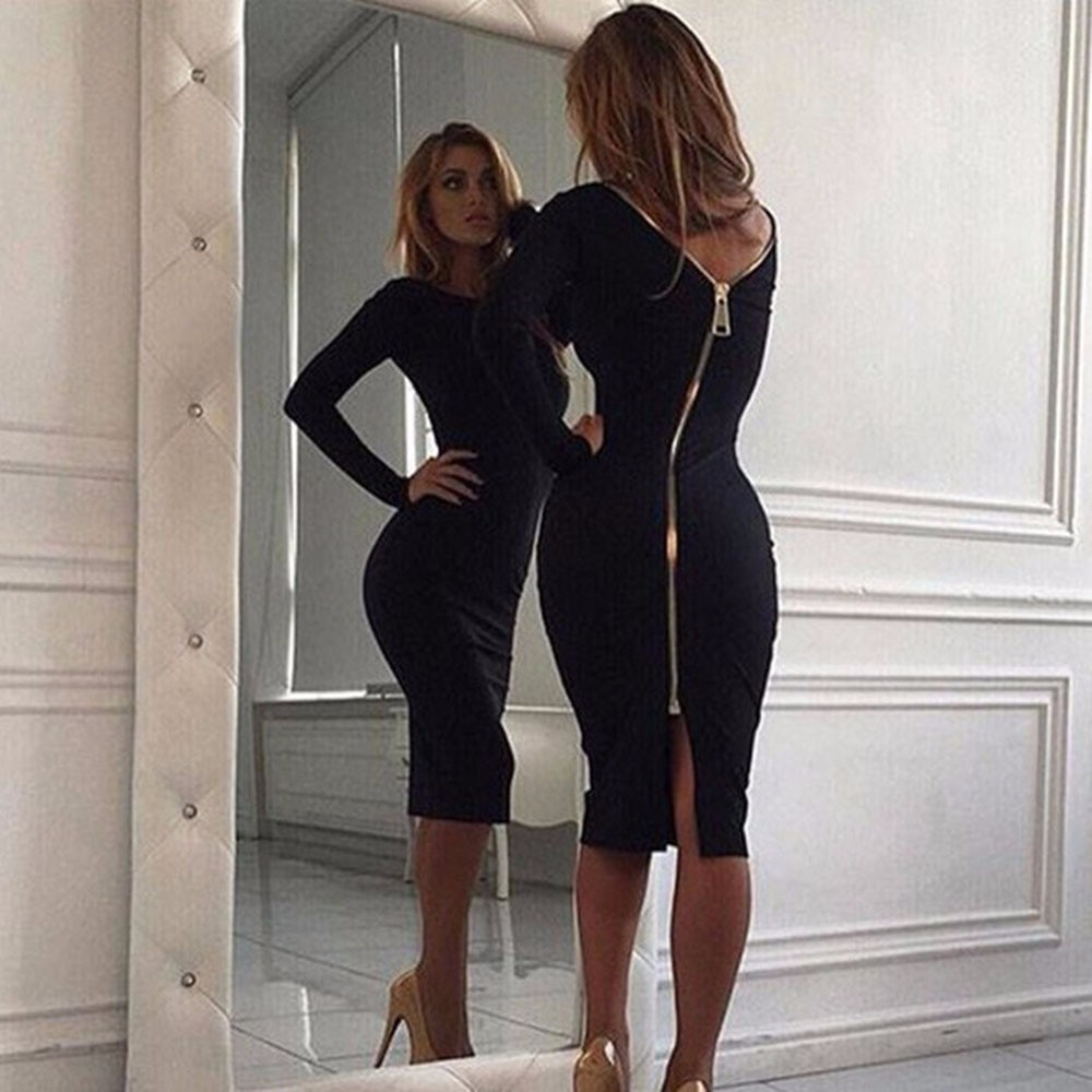 Women Sexy Sheath Bodycon Party Dress Package Hip Back Full Golden Zipper Midi Long Sleeve Vestidos Robe Femme