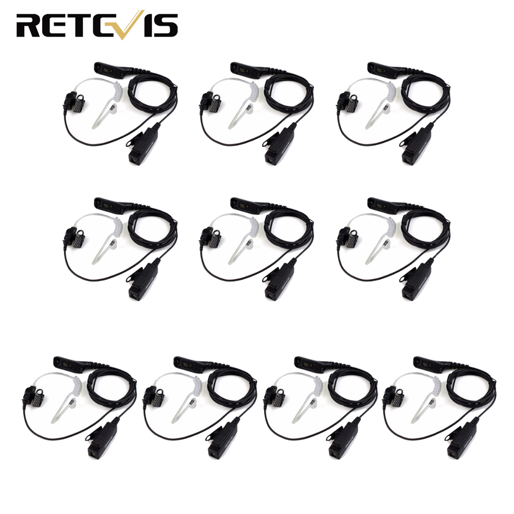 10pcs Retevis R-1M21 Two-wire PTT Earpiece For Motorola XPR6000 XPR6550 DP4800 DP4801 P8268 Two Way Radio Walkie Talkie C9048A