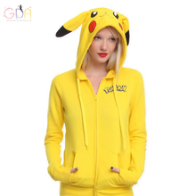 GDA.2016Women Zipper Hoodie Sweatshirt Kawai Women's clothing Plus Size Pullovers Pikachu Printed Women Jacket Coat Z