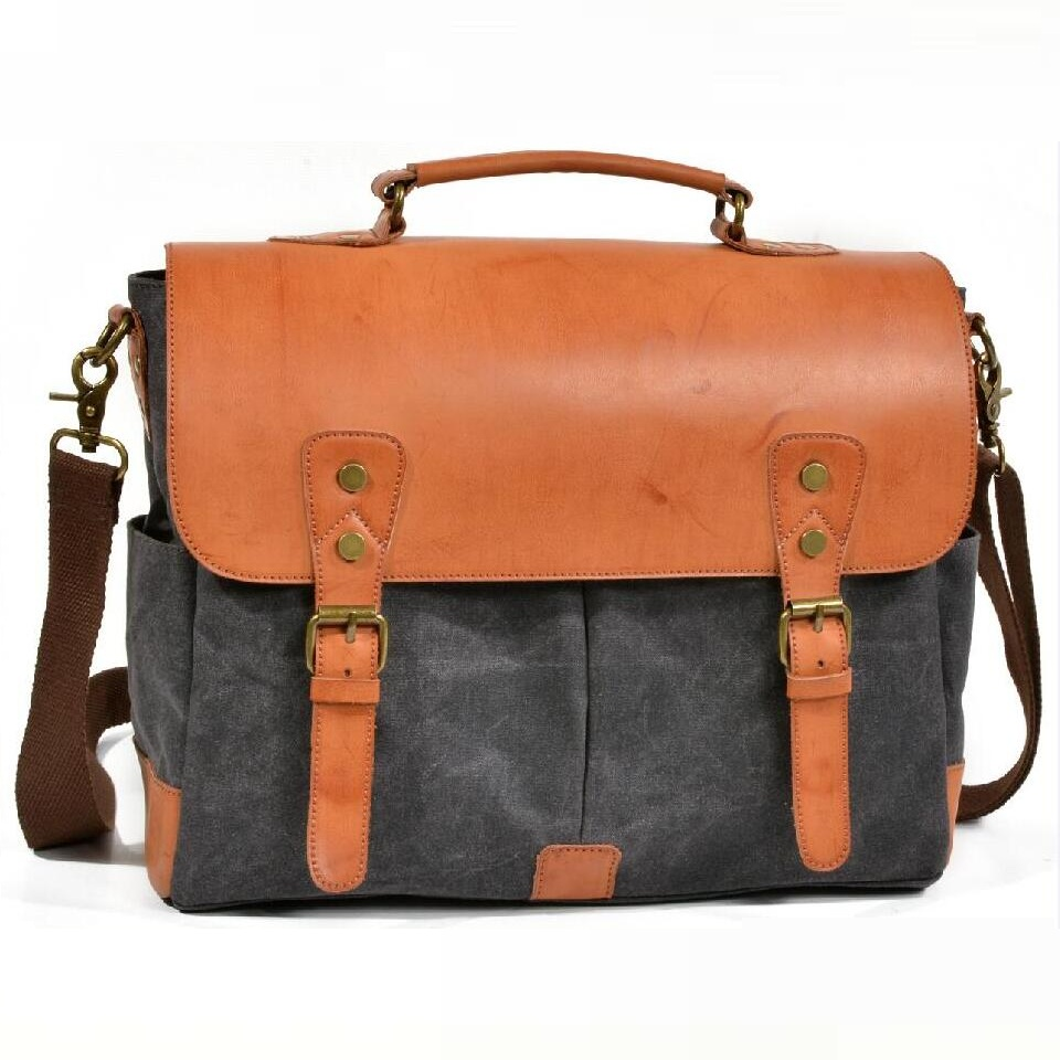 YUPINXUAN Large Capacity Canvas Leather Handbag for Men Vintage Designer Briefcase 14
