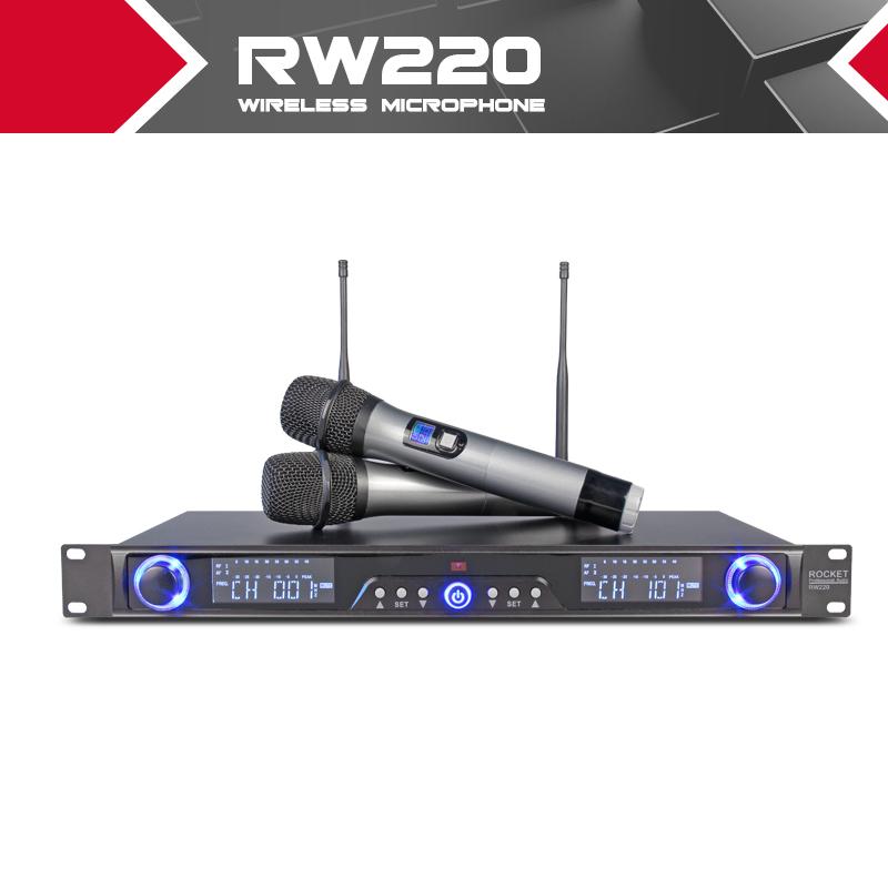 Prix pour 200 Canal Parfait pour Chanteur sur Scène Microphone!!! FUSÉE RW220 Vrai diversité Double UHF De Poche Sans Fil MIC Système