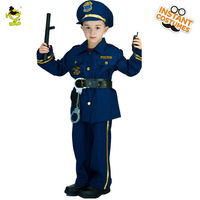 QLQ Hot Sale Boys Police Costume Cosplay Career Halloween Party Role Play Boys Cool Police Suit For Kids Costumes