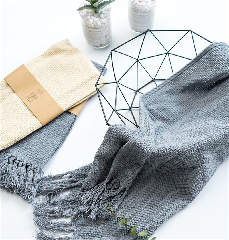 Cotton Linen Tassel Waffle Table Napkin Home Kitchen Dishcloth Handmade Cloth Baking Gourmet Food Cloth Dishcloth Placemats image