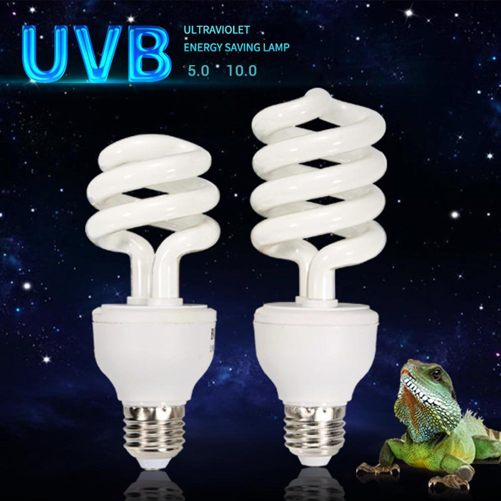 Рептилия UVB 5,0 10,0 лампа для черепахи ящерица, змея Lguanas тепло кальция лампа Энергосберегающая лампа рептилия сочный E27