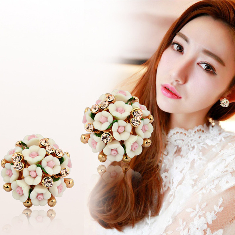 New Arrive Cute Porcelainous Earrings For Women Jewelry Handworked Ceramic Flower Imitation Rhinestone Ear stud