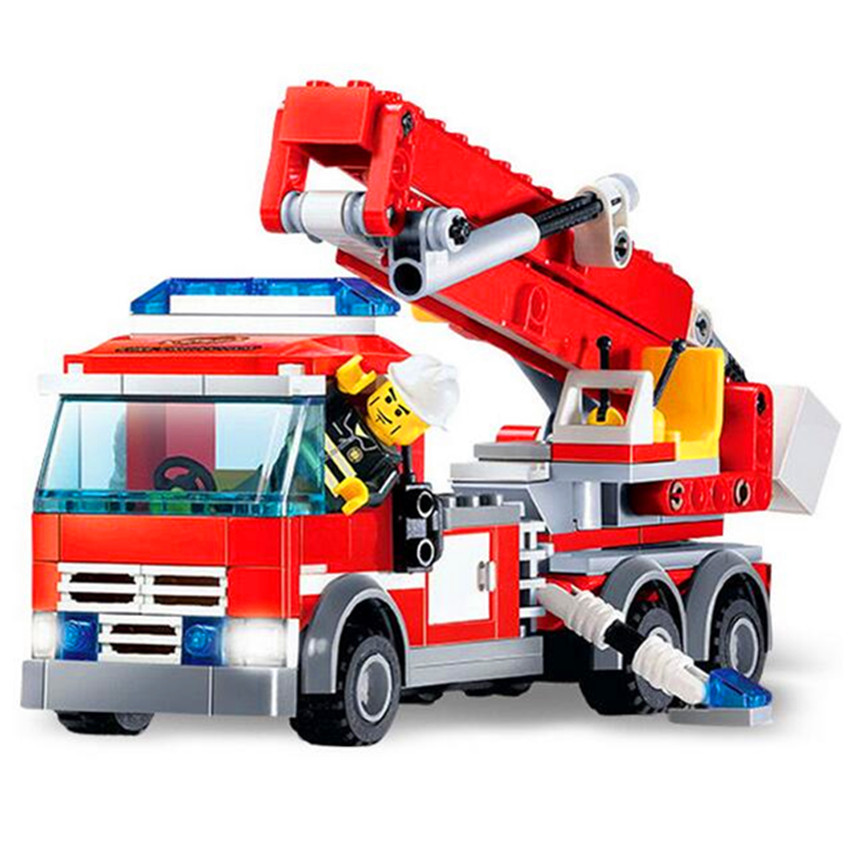 244pcs Brand Compatible DIY Assembly Fire Fighting Truck Toys Educational City Firefighters Building Blocks for Kids Gift banbao 8313 290pcs fire fighting ladder truck building block sets educational diy bricks toys christmas kids gift