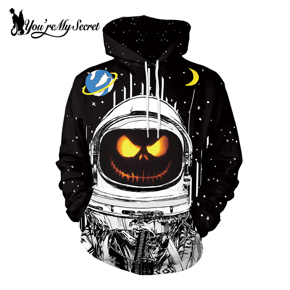 [You're My Secret] Halloween Festival pumpkin Space Astronaut Winter Cartoon Unisex Long Sleeve Digital Hooded Hoodie Sweatshirt
