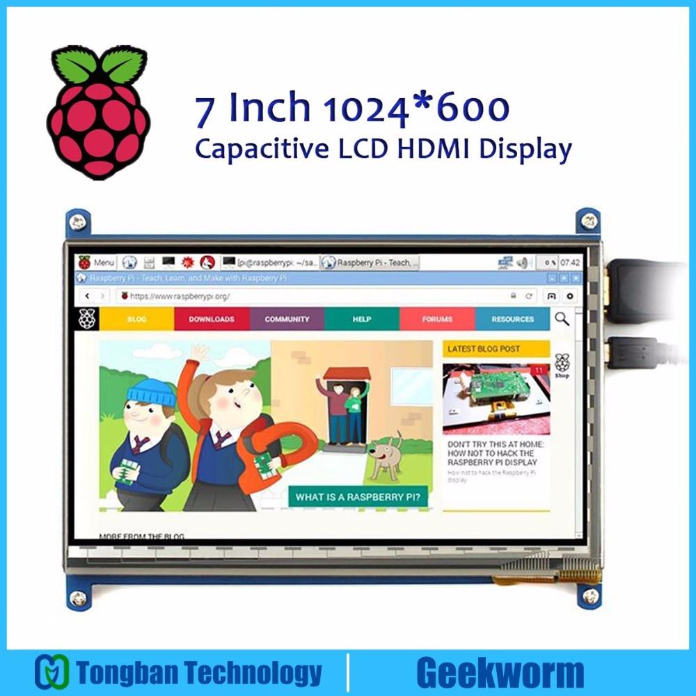Prix pour Geekworm raspberry pi 3 modèle b 7 pouce 1024*600 tft capacitif écran tactile compatible avec raspberry pi win10/8/7