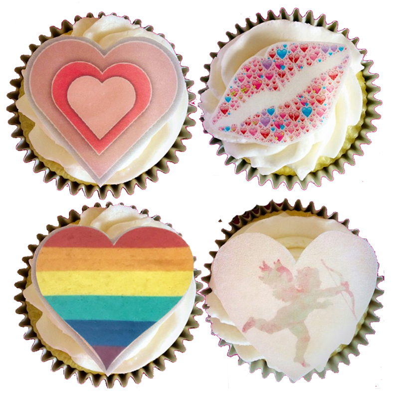 Pre Cut Valentines Hearts Love Edible Cupcake Fairy Cake Toppers x 24