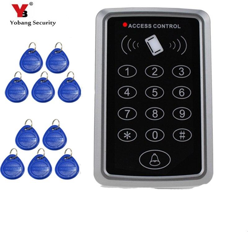 YobangSecurity RFID Proximity 125KHz Card Standalone Access Control Keypad  EM Card Reader with 10 RFID Keyfobs Door Keyless Lock
