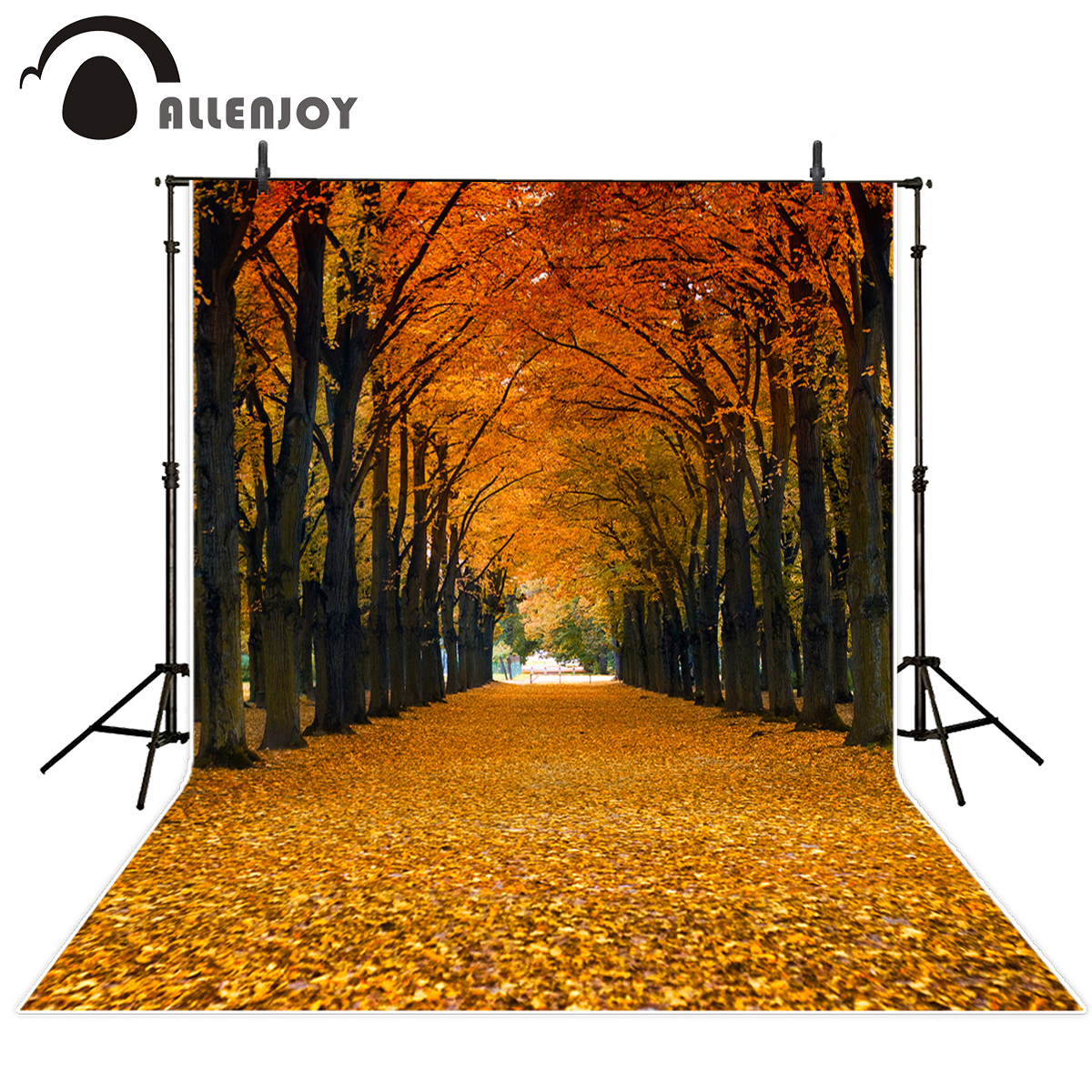 Allenjoy vinyl photographic background Woods fall leaves beautiful yellow road new backdrop photocall photo printed customize
