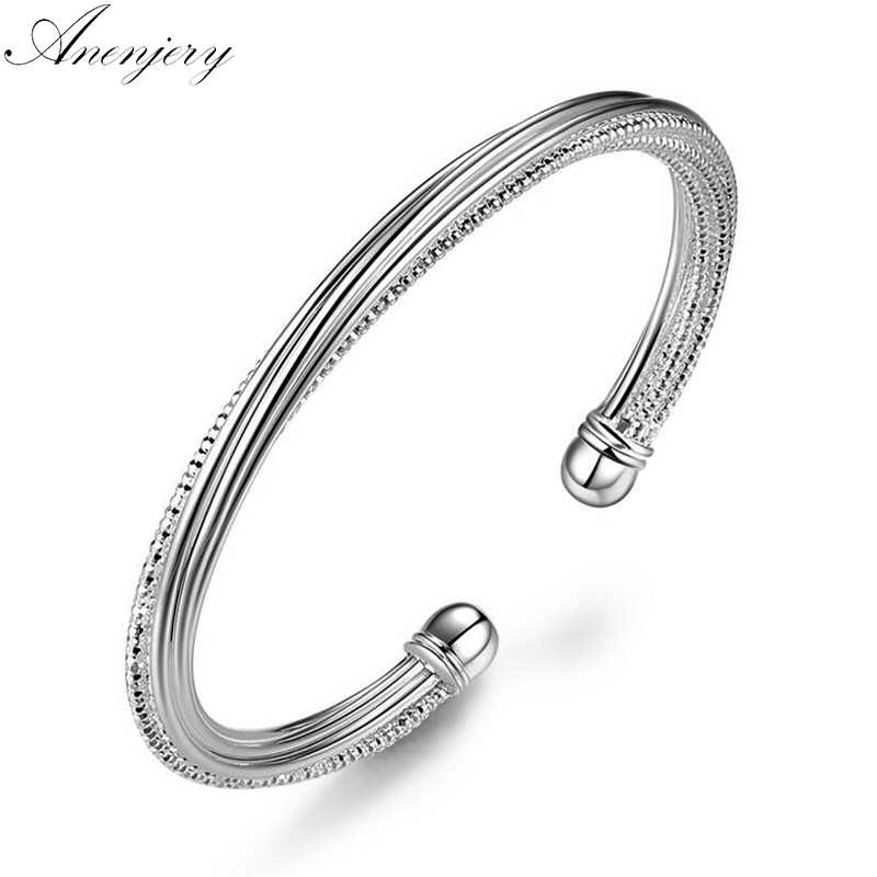 Anenjery 925 Sterling Silver Cuff Bracelets & Bangles Big Brand Luxury pulseras Opening Bangle For Women Jewelry S-B32