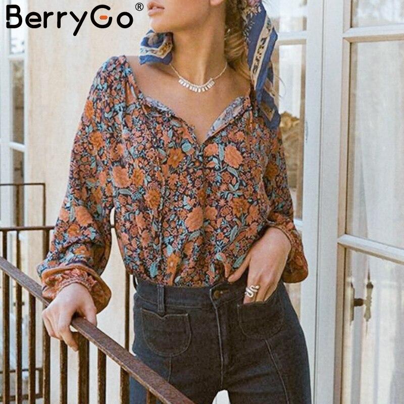 bbeba96dea2910 BerryGo Bohemian floral print women blouse Lantern sleeve v-neck sexy top  shirt Loose casual