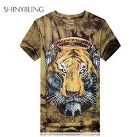 3d النمر مطبوعة الرجال الصيف الأزياء الصخور والقمصان مصمم التعادل صبغ قميص قصير كم شارع harajuku فاسق t قميص