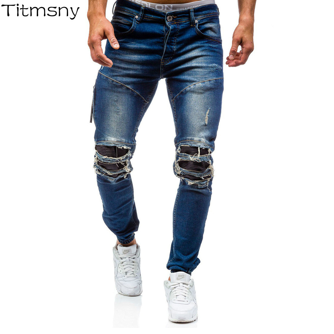 Titmsny Hip Hop Trousers Pencil Pants for Men Solid Fashion Ripped Hole Distressed Jeans Streetwear Skinny Slim Jeans