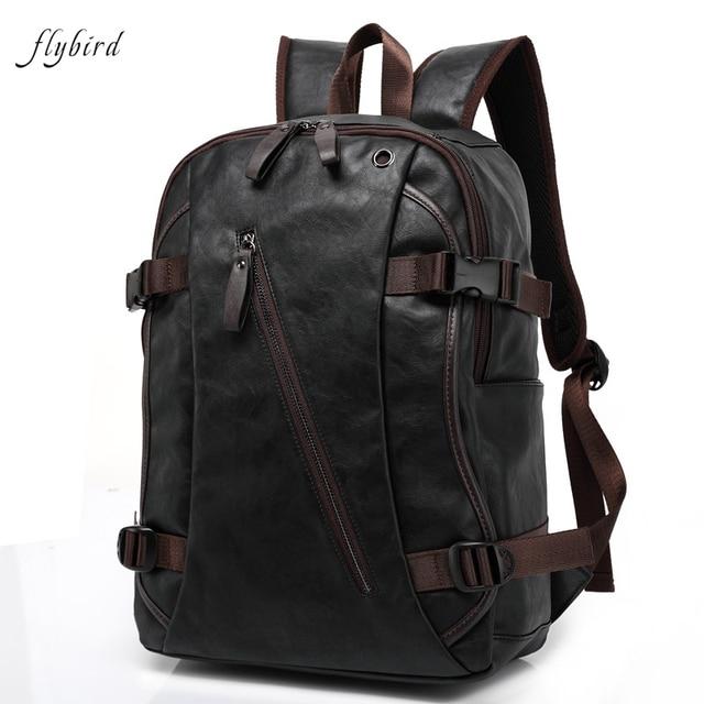 flybird pu en cuir sacs dos tanche sac dos moto ordinateur portable paule sacs de mode. Black Bedroom Furniture Sets. Home Design Ideas