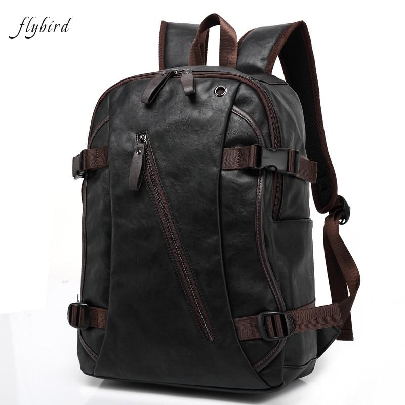 backpack motorcycle leather laptop backpacks waterproof bags flybird pu shoulder pocket male