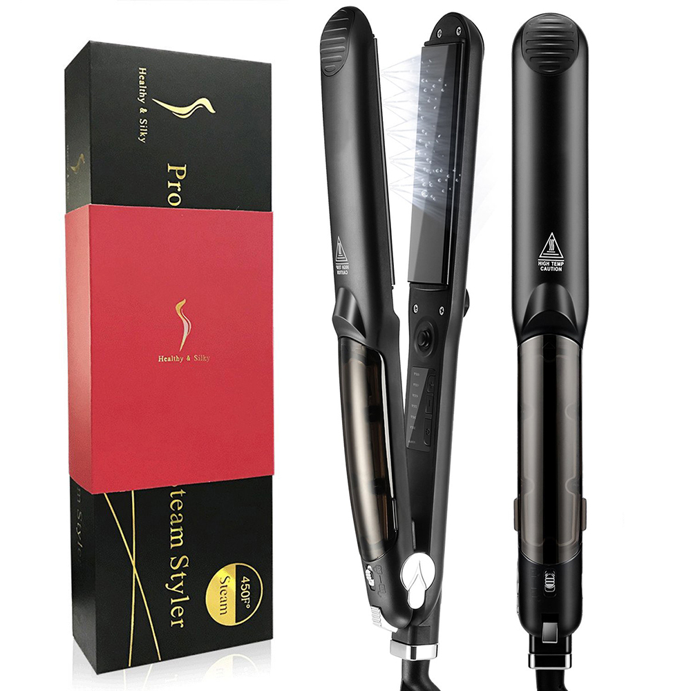 Enhanced Steam Hair Straightener Ceramic Hair Flat Iron Steampod Ionic Hair Straightening Iron Curler with Digital