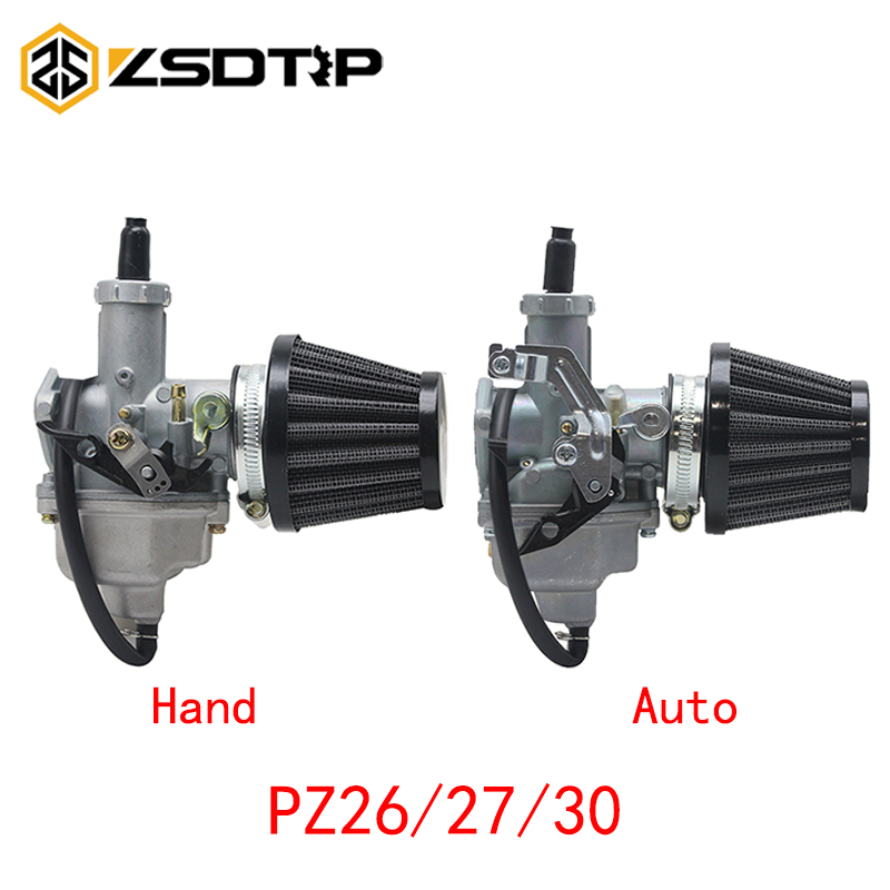 ZSDTRP PZ26 PZ27 PZ30 Carburetor Auto/Cable Choke Lever and Air Filter for 150-300cc Pit Dirt Bike ATV Scooter Moped Engines image
