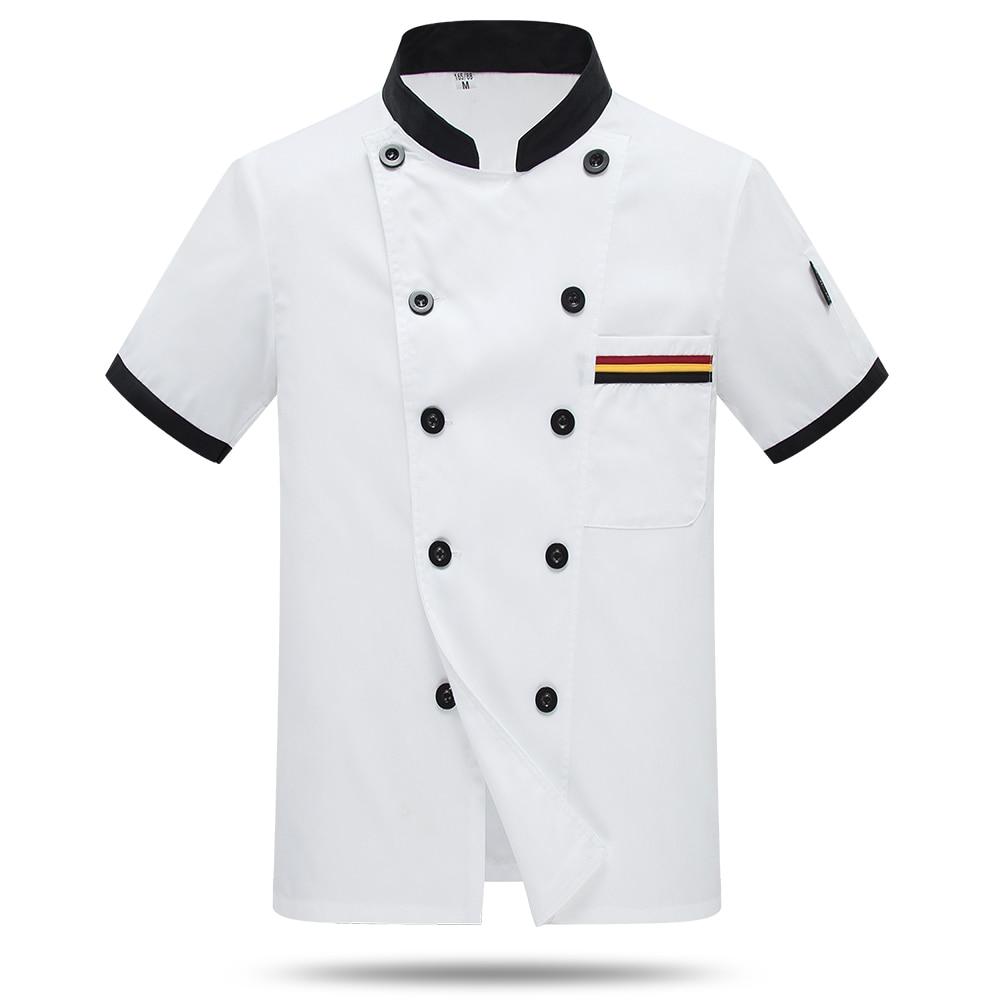 Newly Summer Breathable Short-sleeved Chef Jacket Restaurant Hotel Work Wear Overalls Kitchen Men Women Home Uniform Coat Suits