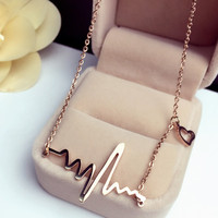 2016 Women Modern Romantic Love Simulated Electrocardiogram ECG Heart Beat Gold Silver Bib Chain Necklace Collares