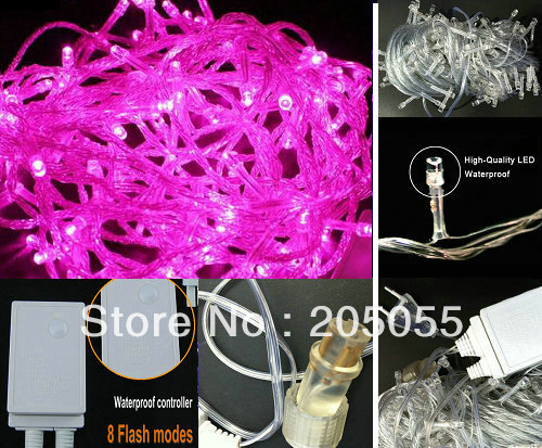 Connectable Outdoor Lights: 10M 100LED Bulb Christmas Fairy String Light Waterproof 8 changing mode  back splice to series connect EU 220V outdoor xmas -Pink,Lighting