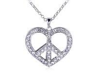 Crystal Clear Rhinestone Silver Tone Heart Peace Sign Retro Pendant Necklace