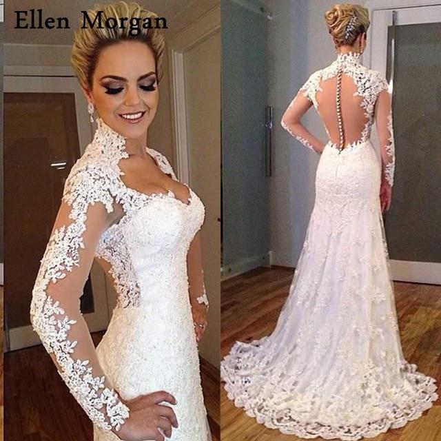 Summer Beach Mermaid Long Sleeves Wedding Dresses 2018 Illusion Lace ...