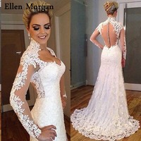 Summer Beach Mermaid Long Sleeves Wedding Dresses 2018 Illusion Lace Real Photos Sexy Sweetheart Cheap Lace Bridal Gowns