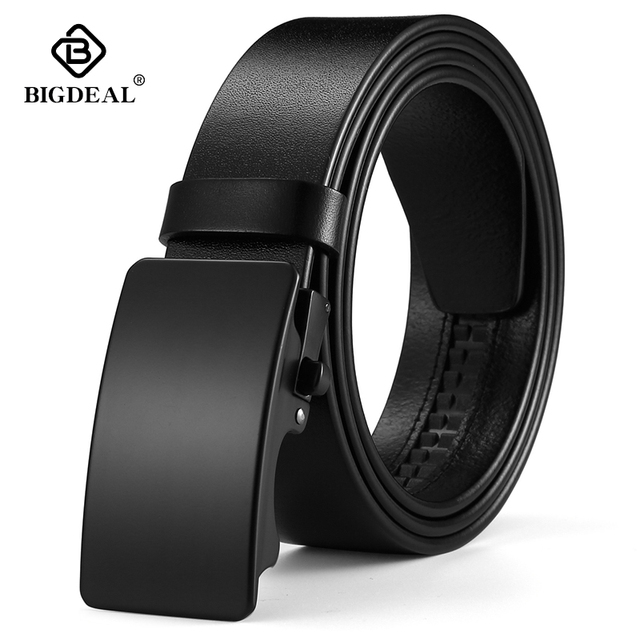 BIGDEAL Mens Belt Cow Leather Belts Luxury Men Automatic Buckle Genuine Leather Strap Waistband Belts For Men 3.5cm