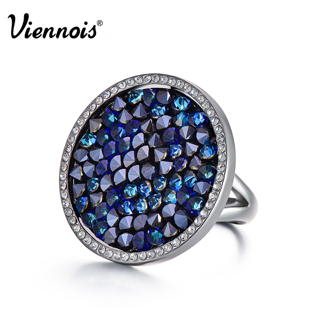 New Viennois Light Gun & Rose Gold Color Round Rings for Woman Full Crystals Luxury Ring Rhinestone Finger Rings