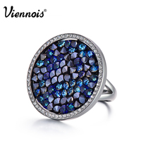 New Viennois Light Gun Rose Gold Plated Round Rings For Woman Full Crystal Paved Party Rings