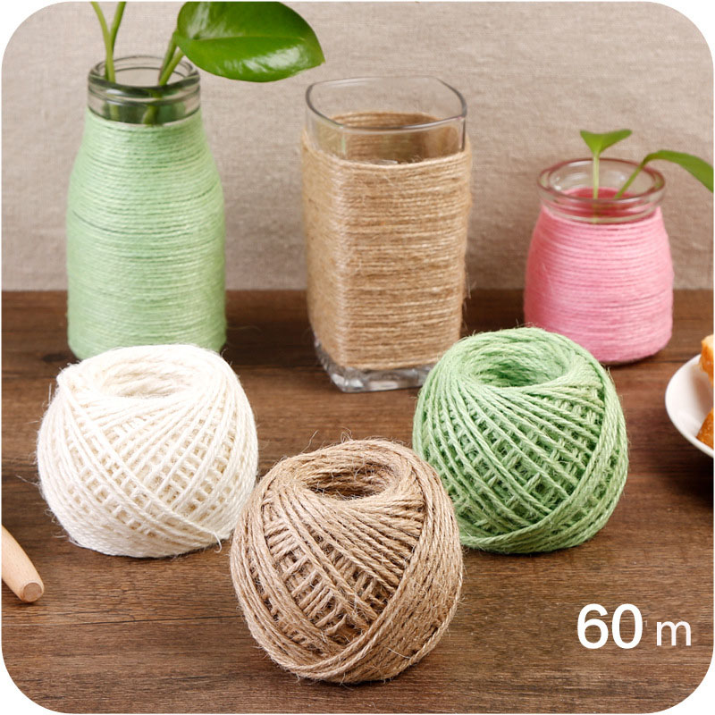 NEW natural jute rope 60m Wrap Wedding Party Decoration Craft Necklace Making DIY Xmas Decor Burlap String Cord Gift Packaging ...