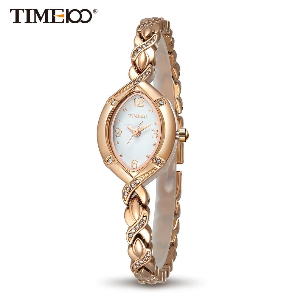 TIME100 Dameshorloges Quartz Jewlry Gouden Cristal wijzerplaat Strass Casual lichtmetalen band Dameshorloge relogio feminino