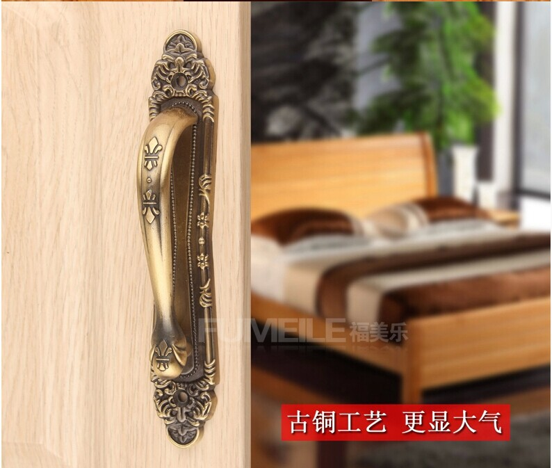 Wholesale Hardware accessories Europe Quality Vintage Bronze Furniture handles Door handle Door knob Pull 300mm  Free shipping  bqlzr 2 x bronze thicken dragon pattern pull knob hardware w u shaped pin