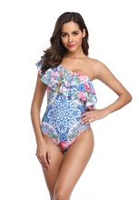2019 One shoulder Bikini Monokini  Lotus Leaf Sexy Swimwear Women Hot Swimsuit Ladies Ruffled Flower One-piece Swimsuits