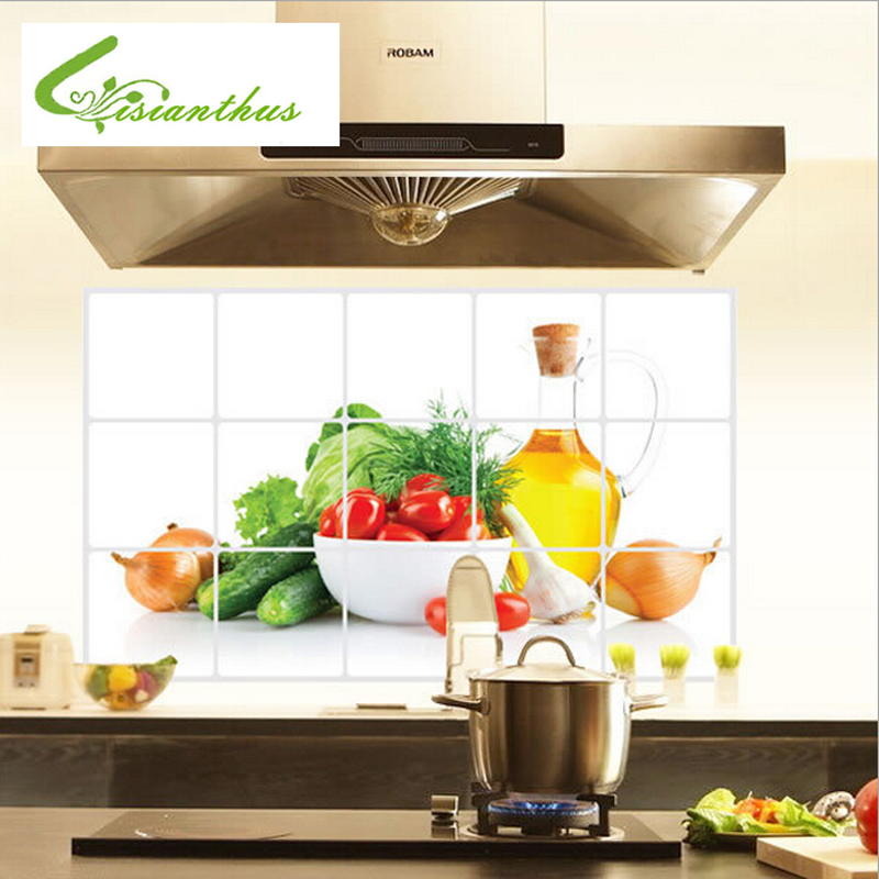 Hot Sale Waterproof and Oil PVC Wall Stickers Tiled Kitchen Bathroom Wall  Decoration Vegetable and Fruit