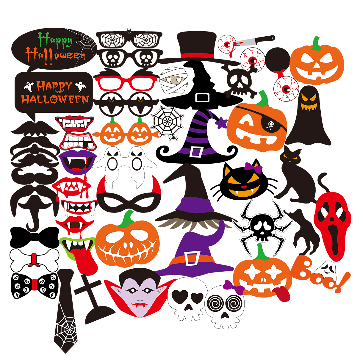 52pcs halloween horror photo props on a stick skull magic hat pumpkin funny paper beard batman - Halloween Photography Props