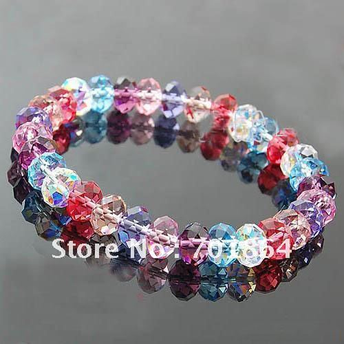 Pcs Lot Free Shipping Fashion Jewelry 8mm Colorful Crystal Beaded Bracelet Mix Colors