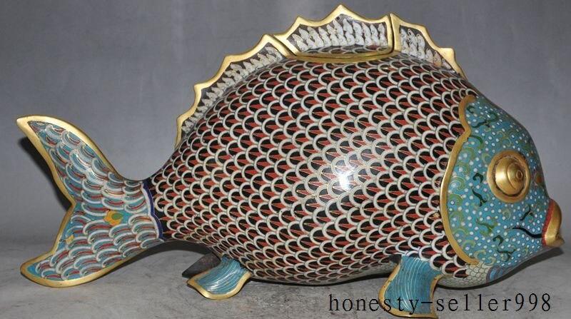 Decorazione di cerimonia nuziale 18 bronzo di Cinese Cloisonne Dello Smalto 24 k Oro di pesce barracuda bruciatore di incenso CenserDecorazione di cerimonia nuziale 18 bronzo di Cinese Cloisonne Dello Smalto 24 k Oro di pesce barracuda bruciatore di incenso Censer