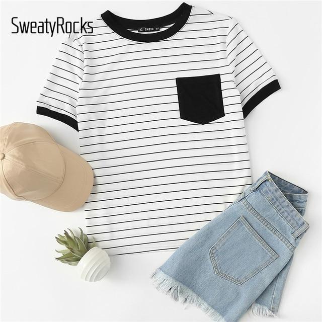 SweatyRocks koszulka w paski Colorblock kieszeń Tee kobiety wokół szyi, krótki rękaw góry 2018 lato Active Wear Tee