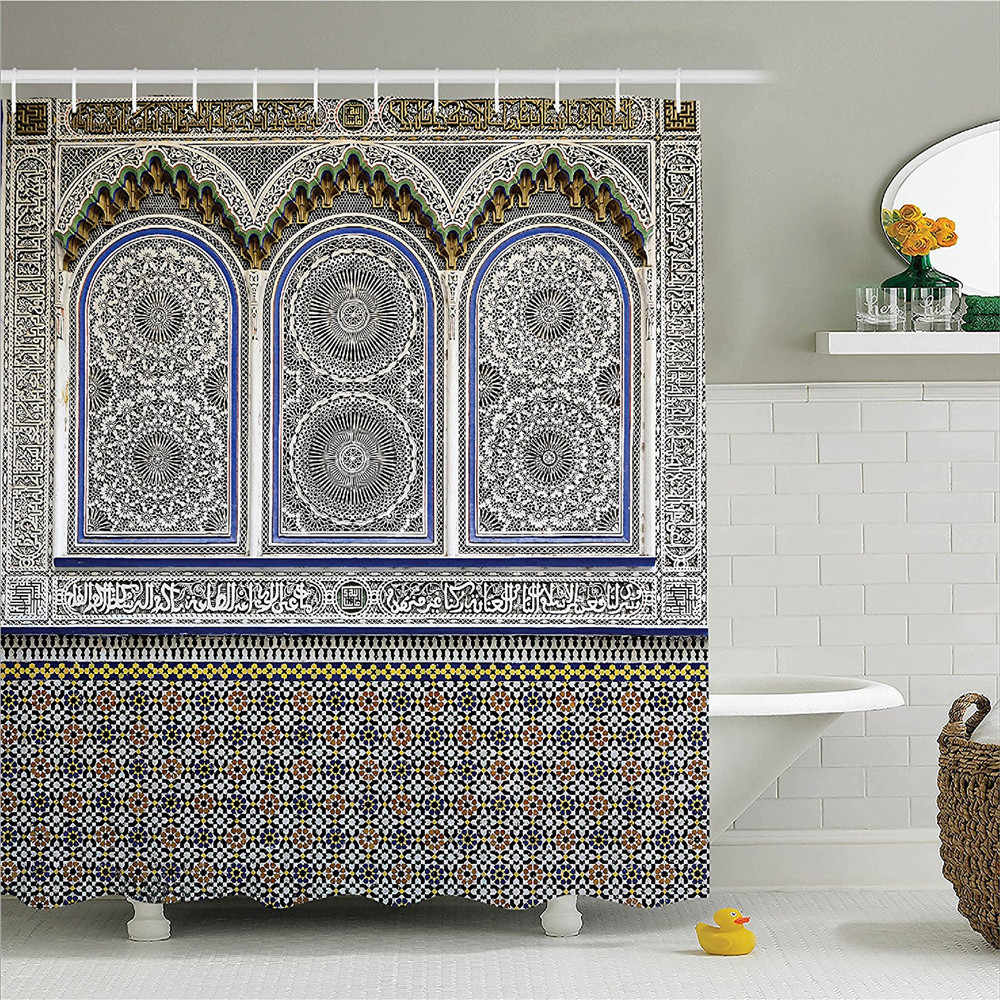 Arabian Decor Shower Curtain Set Nostalgic Moroccan Architecture With Stone Carving And Motifs Majestic Ottoman Empire Artsy