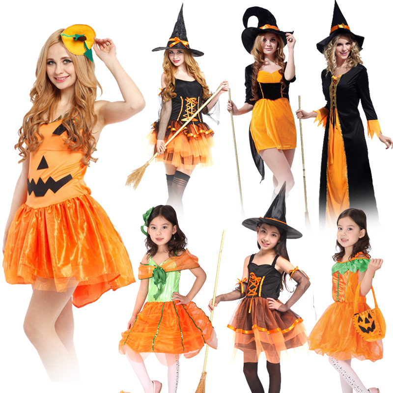 Halloween Pumpkin Witch Hair Band Carnival Cosplay Costume Girl/Women Sexy Braces Dress Party Performance Fruit Vegetable Suits