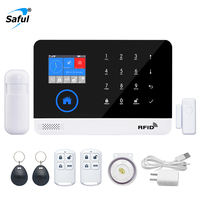 Saful WIFI Home Alarm System 3G GSM GPRS Menu Operating APP Multi Language Remote Control RFID