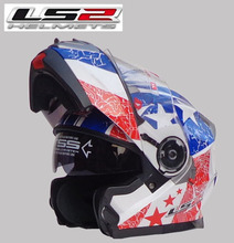 LS2 FF318 Dual Lens motorcycle helmet visor exposing upscale all-new helmet special white / blue red shaped ring, free shipping!